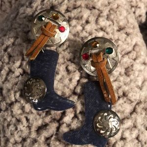 Conceits Jewelry - Western boot & silver clip-on earrings